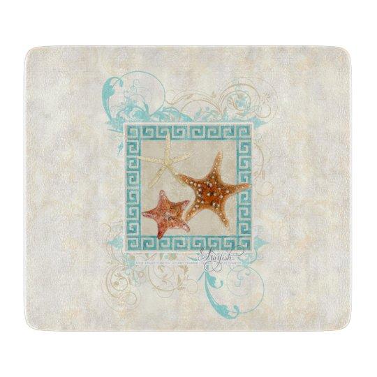 Starfish Sea Shells Ocean Greek Key Pattern Beach Cutting Boards