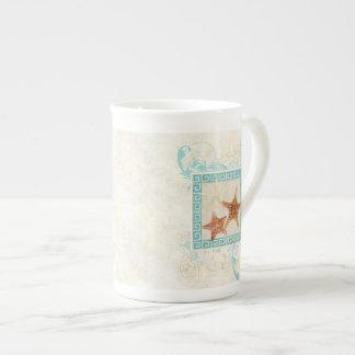 Starfish Sea Shells Ocean Greek Key Pattern Beach Tea Cup