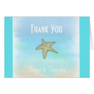 Starfish Seashell Wedding Thank You Card Greeting Card