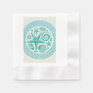 Starfish & Seashells Circle Paper Napkins