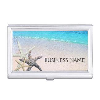 Starfish Seashells on Beautiful Beach Custom Business Card Holder