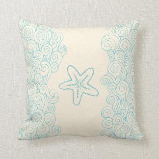 Starfish seastar and sea blue cream throw pillow