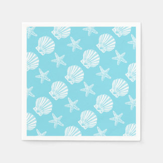 Starfish shell beach theme blue disposable napkins