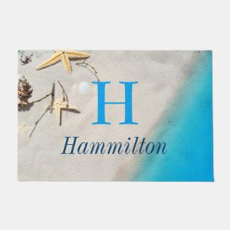 Starfish & Shells Sandy Shore Beach - Personalized Doormat