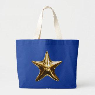 Starfish star fish gold canvas bag