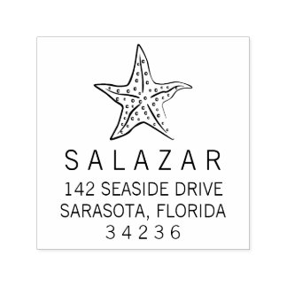 Starfish Style   Return Address Self-inking Stamp