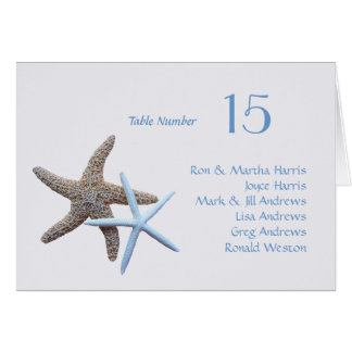 Starfish Table Seating Folded Card