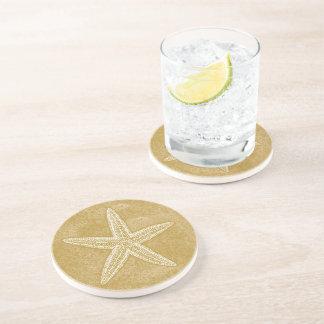 Starfish Tan Sand Beverage Coasters