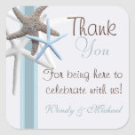 Starfish Thank You Personalized Wedding Sticker
