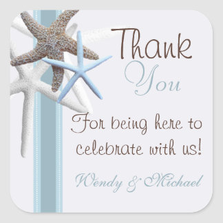 Starfish Thank You Personalized Wedding Sticker
