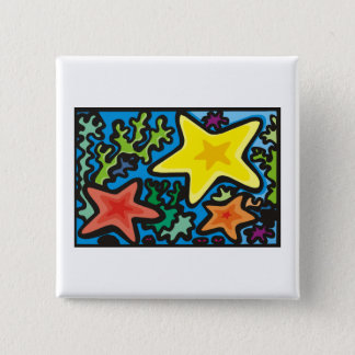 Starfish Trio 2 Inch Square Button