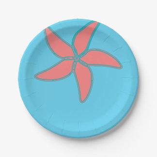 Starfish Tropical Summer Beach Design Custom Color 7 Inch Paper Plate