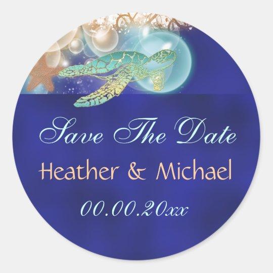 Starfish turtle wedding save the date classic round sticker