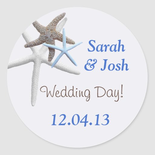 Starfish Wedding Date Round Personalized Stickers