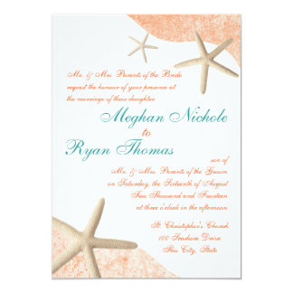 Starfish Wedding Tropical Orange Card