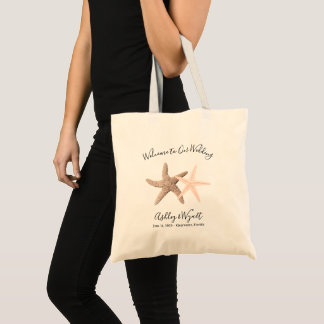 Starfish Wedding Welcome Coral Brown Guest Favor Tote Bag