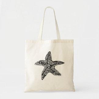 Starfish Wedding Word Cloud Tote Budget Tote Bag