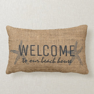 Starfish Welcome beach house rustic burlap Lumbar Pillow
