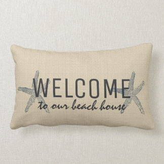 Starfish Welcome beach house Sand color burlap Lumbar Pillow