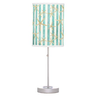 Starfish, White Finger Ocean Shells Beach Striped Table Lamp