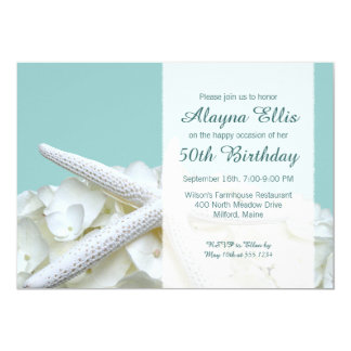 Starfish White Hydrangeas Birthday Party Invites