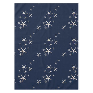 Starfish White Navy Blue tropical Tablecloth
