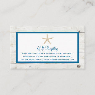 Starfish Whitewashed Wood Beach Wedding Collection Enclosure Card