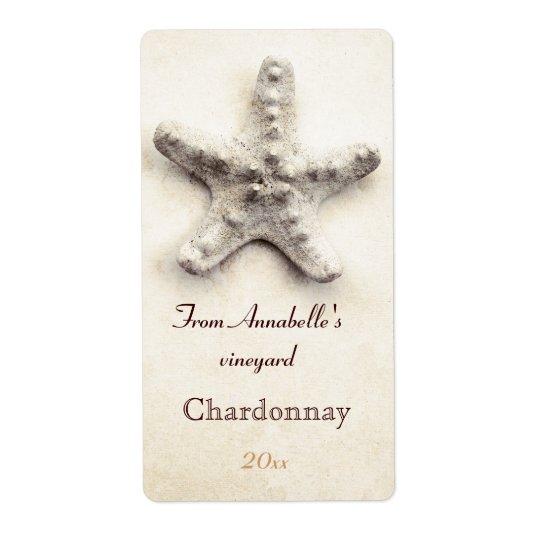 Starfish  wine bottle label