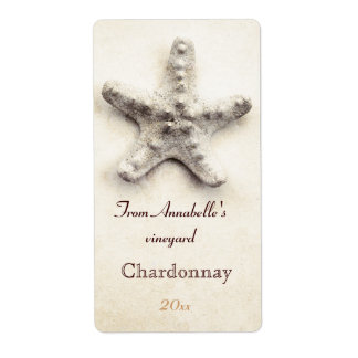 Starfish  wine bottle label shipping label