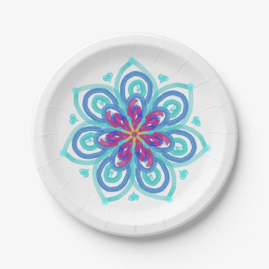 Starflower in mint and crimson 7 inch paper plate