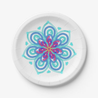 Starflower in mint and crimson paper plate
