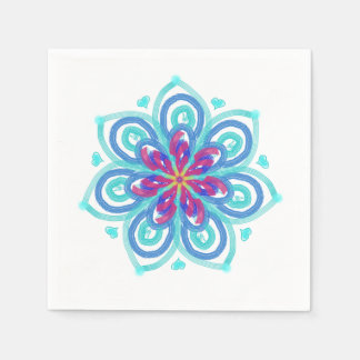 Starflower in mint green and crimson paper napkin