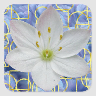 Starflower on Blue Abstract Square Sticker