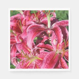 Stargazer Dark Pink Oriental Lilies Napkin