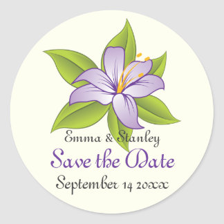Stargazer lilac purple wedding Save the Date Classic Round Sticker