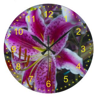 Stargazer Lilies Large Clock