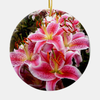 """Stargazer"" Lilies Round Ceramic Ornament"