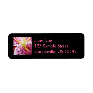 Stargazer Lily Bright Magenta Floral Return Address Label