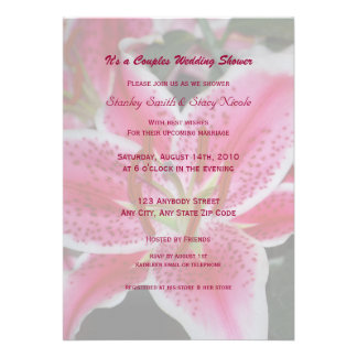 Stargazer Lily Couples Wedding Shower Invitation