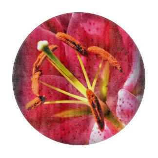 "Stargazer Lily Decorative Glass Cutting Board 12"""