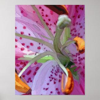 Stargazer Lily Digital Painting Poster