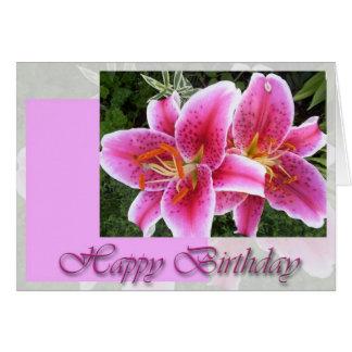 Stargazer Lily Floral Birthday Card