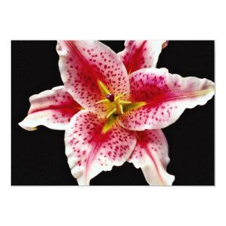 "Stargazer lily  flowers 5"" x 7"" invitation card"