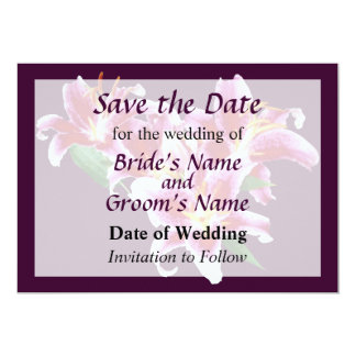 Stargazer Lily Heart Save the Date Custom Announcement