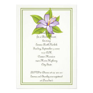 Stargazer lily lilac purple wedding bridal shower announcements
