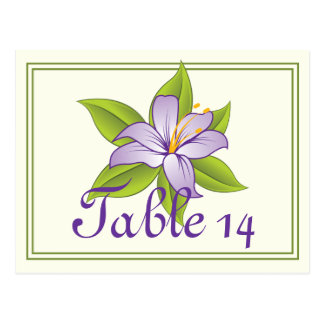Stargazer lily lilac purple wedding table number postcard