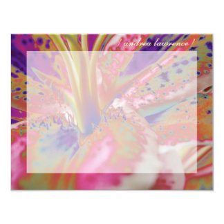 "Stargazer Lily Personalized Flat Note Cards 4.25"" X 5.5"" Invitation Card"