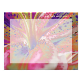 Stargazer Lily Personalized Flat Note Cards Announcement