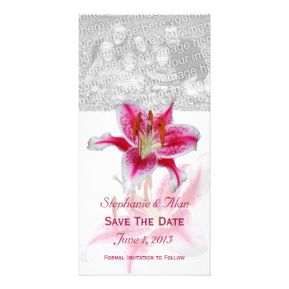 Stargazer Lily Save The Date PhotoCards Customized Photo Card