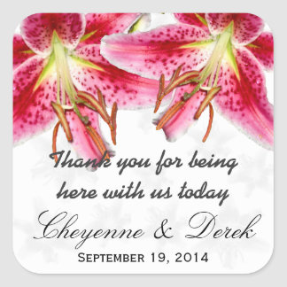 Stargazer Lily Square Wedding Thank You Sticker